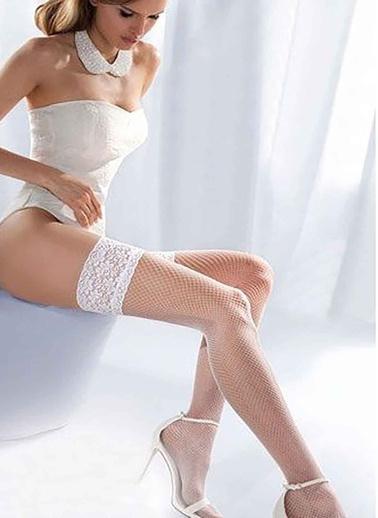 Merry See  Beyaz File Silikonlu Dantelli Jartiyer Çorap Beyaz